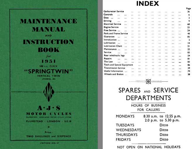 Regress press ajs springtwin model 20 1951 maintenance manual ajs springtwin model 20 1951 maintenance manual and instruction book for 1951 500cc vertical twin sciox Gallery