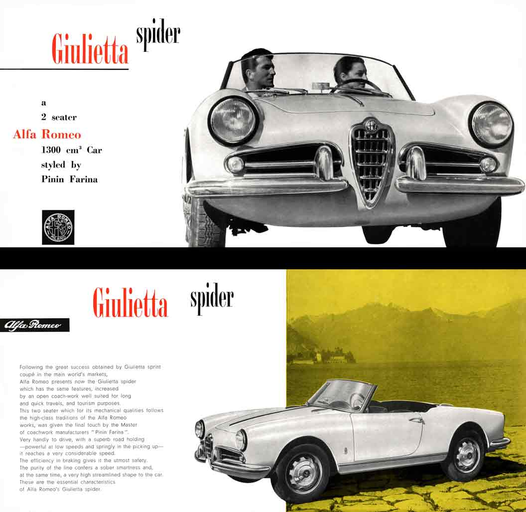 Alpha Romeo Giulietta Spider 1957 - a two seater Alfa Romeo 1300 cm Car