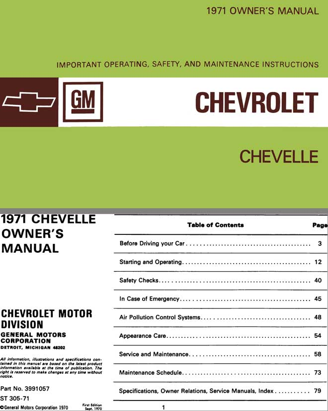 regress press chevrolet chevelle 1971 owner s manual 1971 owner s rh regresspress com automobile owners manuals pdf automobile owners manual covers