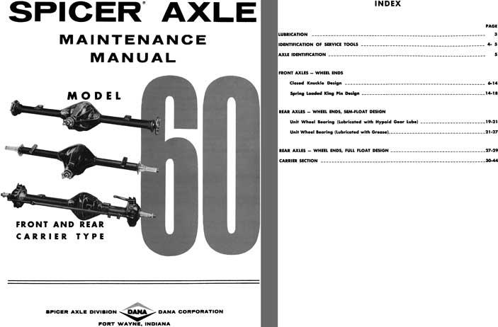 Regress Press -Dana Spicer Axle c1981 - Spicer Axle Model 60