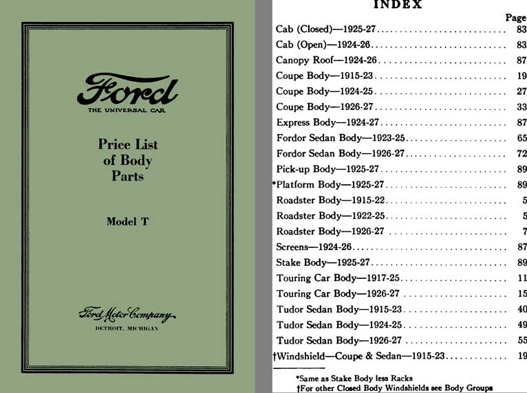 Ford Model A Parts List : Regress press ford model t price list of body
