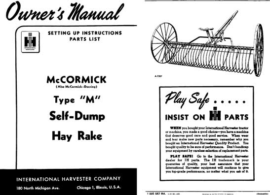 Tonutti Hay Rake Owners Manual