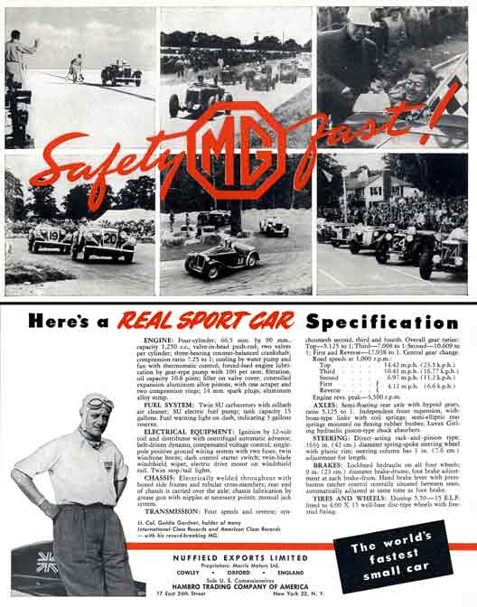 TD Series (c1953) MG - Safety Fast - Here's a Real Sports Car Specification