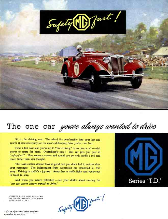 TD Series (c1953) MG - Safety Fast - the world acclaims the