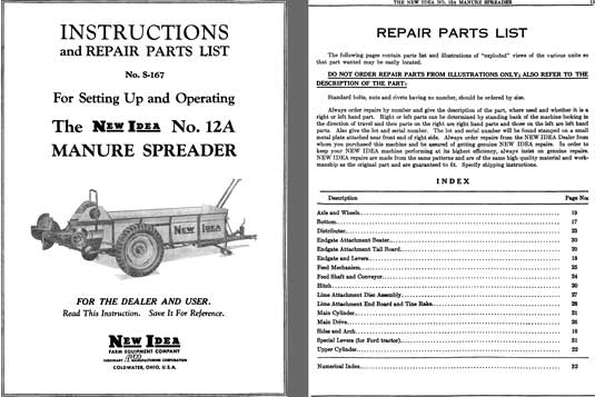 New Idea Spreader Parts : Regress press old automobile and motorcycle catalogs
