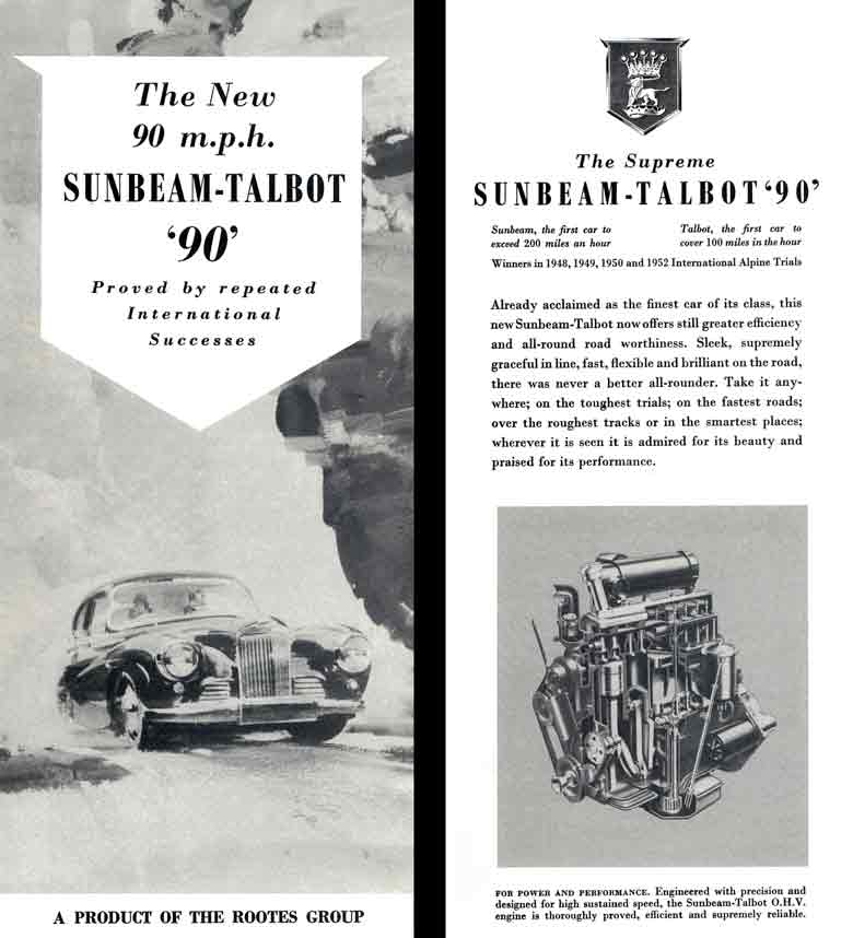Talbot 90 (c1953) Sunbeam - The New 90mph Sunbeam -Talbot '90' - Proved by repeated Intl Successes