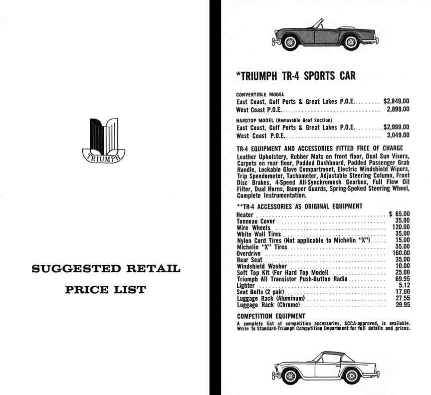 Triumph 1964 Suggested Retail Price List