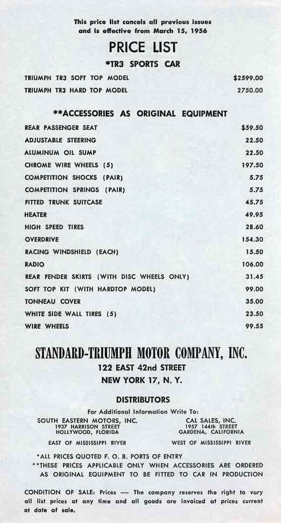 Triumph TR3 Sports Car 1956 Price List