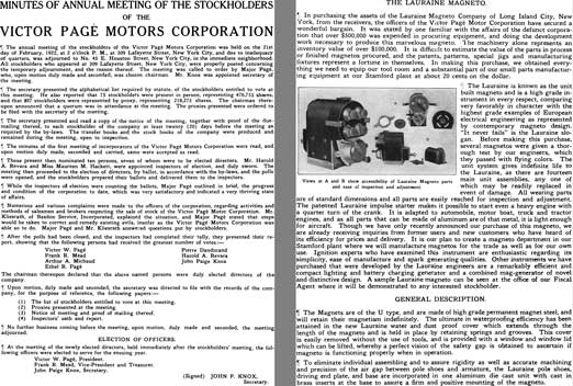 Victor Page 1922 - Minutes of Annual Meeting of the Stockholders of the Victor Page Motors Corp