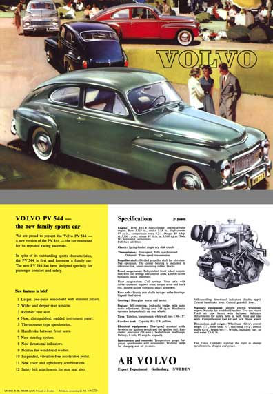 Volvo c1962 - Volvo PV 544 - The New Family Sports Car - Spec Sheet